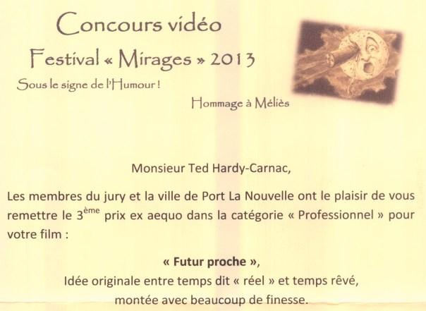 """3ème Prix du Festival """"Mirages"""""""